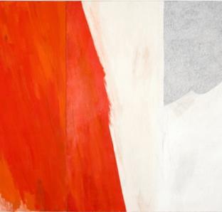 """Christine Linder - """"Mitte"""", 2006, Diptychon, Öl, Kreide und Collage auf Köper, 15o:26o cm"""