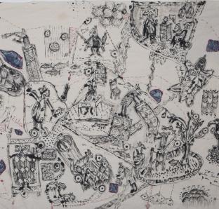Susanne Mansen - 'Zitat', 2016, Tusche/Faden auf Nessel, 55 cm x 80 cm