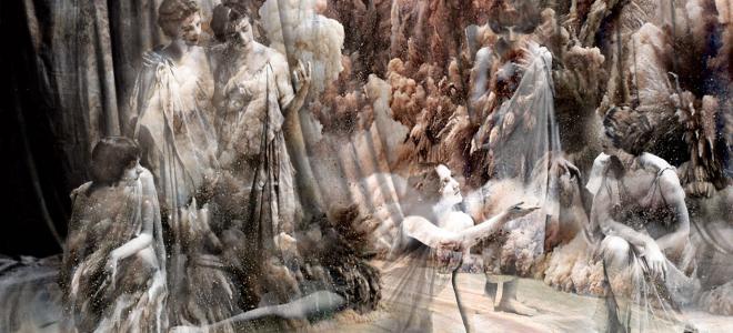 Bianca Artopé - Geschlossene Gesellschaft Blattmetall, Giclée-Druck und Epoxidharz auf Leinwand, 70 x 105 cm, 2017